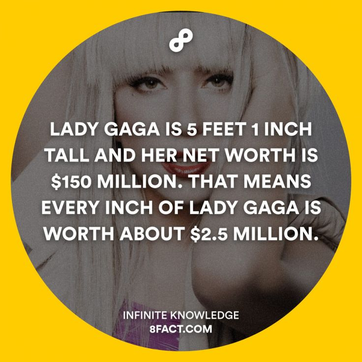 Lady Gaga is 5 feet 1 inch tall and her net worth is $150 million.