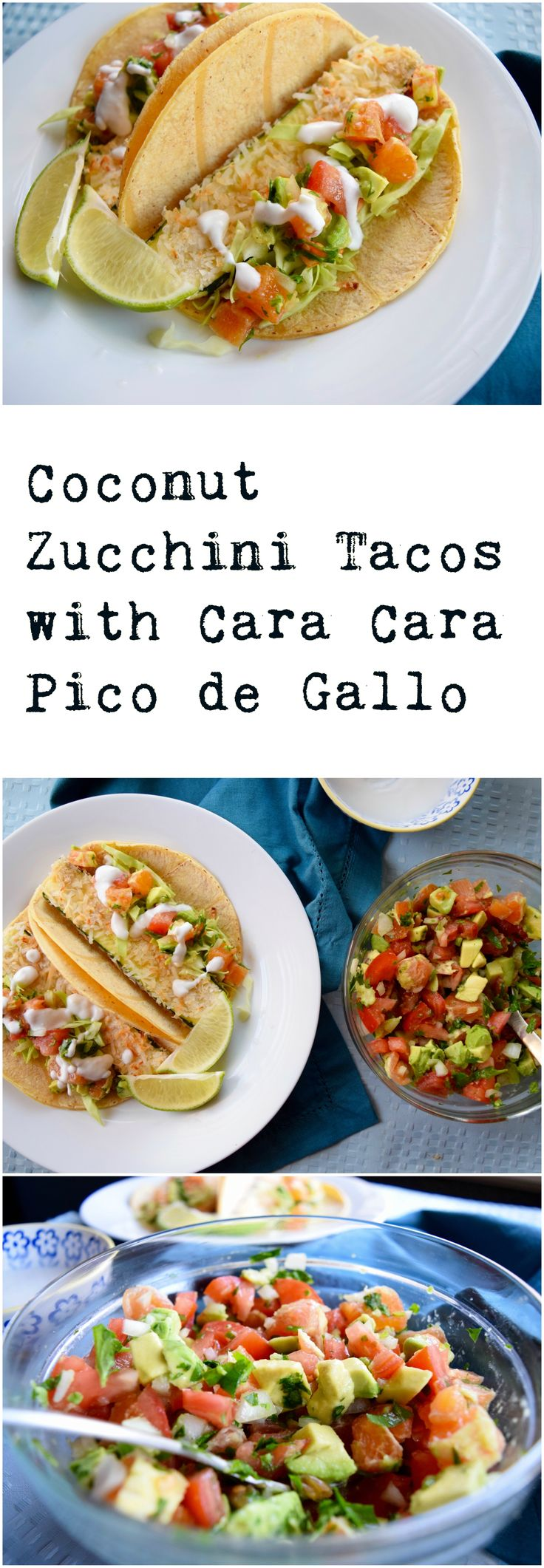 Delicious coconut crusted zucchini goes perfectly with cara cara orange pico de gallo in these vegan tacos.