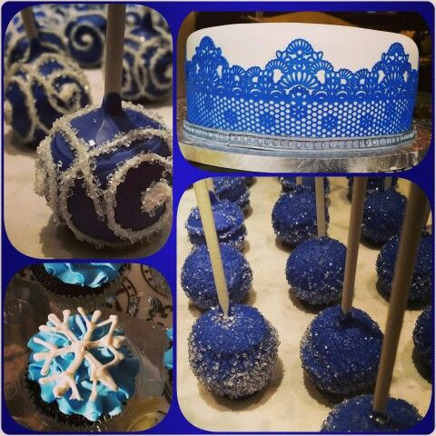 Royal blue and white lace cake , blue cake pops