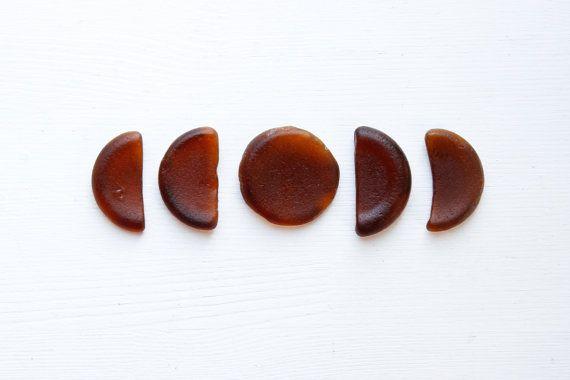 Moon Cycle.  Japanese Brown Bottle Bottom Sea Glass by ReverseGem