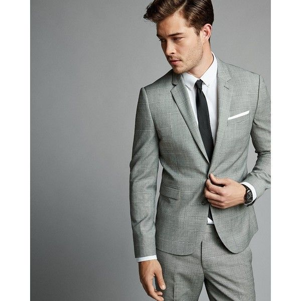 Express Skinny Innovator Gray Textured Windowpane Wool Blend Suit... (445 AUD) ❤ liked on Polyvore featuring men's fashion, men's clothing, men's suits, grey, mens skinny fit suits, express mens clothing, mens skinny suits, mens apparel and mens suits