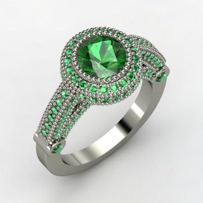 Vanessa Ring - Round Emerald 14K White Gold Ring $5,905