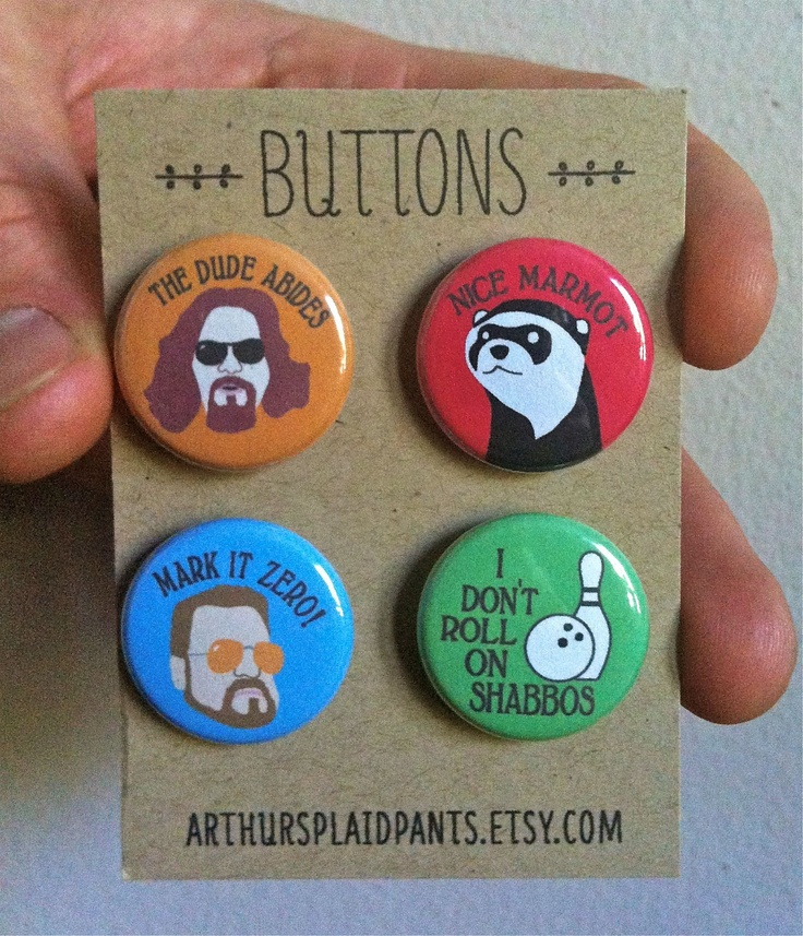 "Big lebowski pin set, the dude, the dude abides pin, nice marmot, Walter Sobchak pin, pinback button set,  handmade 1"" buttons. $8.00, via Etsy."