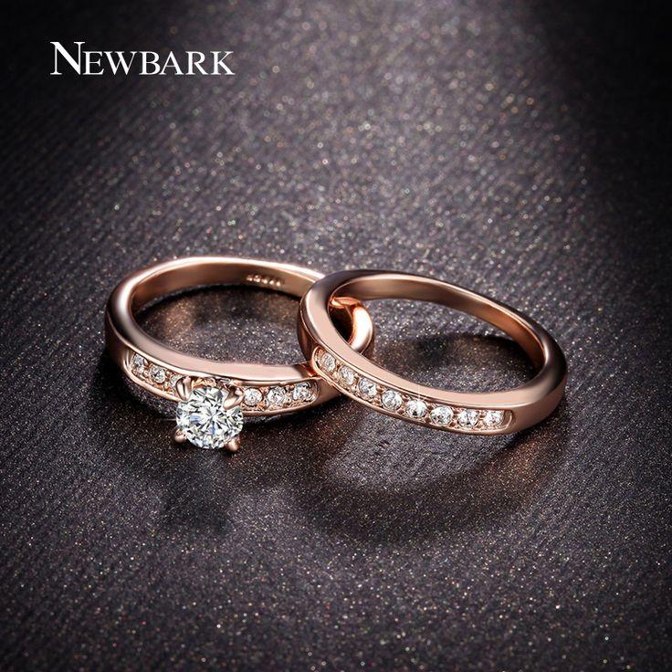 Newbark wit en rose goud kleur trouwringen ringen voor vrouwen hoge kwaliteit ronde cz diamond griffenzetting engagement sieraden