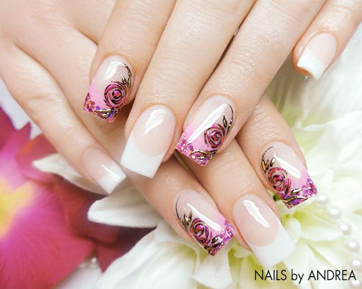 #trendstyle   #roses   #nails  #stars  Hier wurden die Rosen mit der Transfer Nagelfolie erstellt, was sie im 3D-Effekt erblühen lässt. Durch die weiße French bleibt das Design dezent und elegant. Noch mehr Beispiele für den Modetrend Rosen-Print findet Ihr übrigens hier: http://www.prettynailshop24.de/shop/trendstyle/fashion-trends/rosenprints_13.html