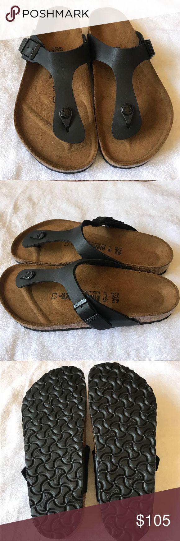 Birkenstock Sandals .... Birkenstock thong Sandals Gizeh Flip Flop Sandals Faux Black Leather Beige Cork Sole Comfort Fit German Shoes Adjustable Buckle strap New with Box size 42 [11 - 11.5 ] Birkenstock Shoes Sandals