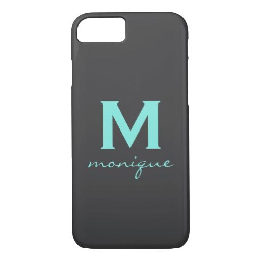 Chic Teal and Gray Monogram Phone Case - Mod Style  Looking for a mod-style phone case? Look no further!  Sure this design is simple: but simple can be striking, and striking gets peoples' attention. So if you're looking for something eye-catching, then here's the phone case for you. Change everything from the gray background to the color of the text, to the style of test itself.  Let's get started. Customize this elegant design for yourself, and make your card stand out from the crowd.