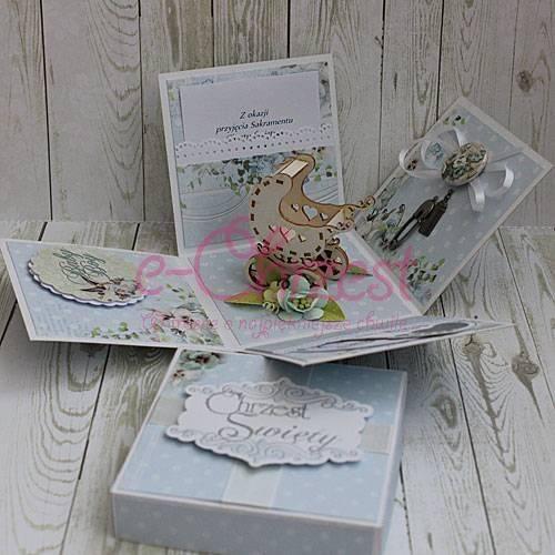 Pudełko z życzeniami na chrzest dla chłopca