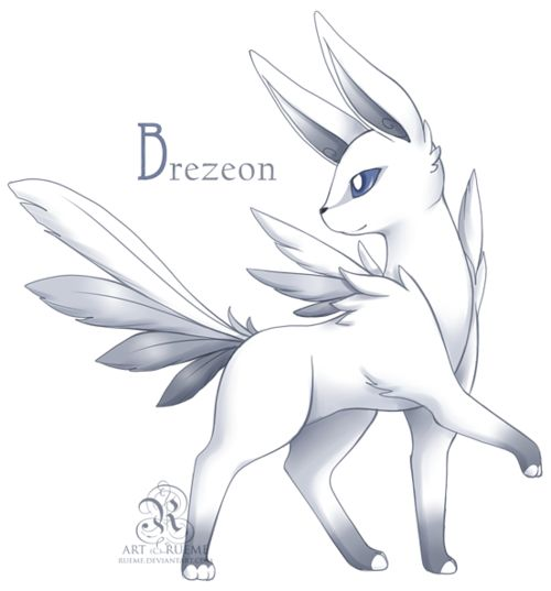 Eevee —> Brezeon Evolves from a female Eevee with the Dawn Stone. Flying Source. Artist: Rueme
