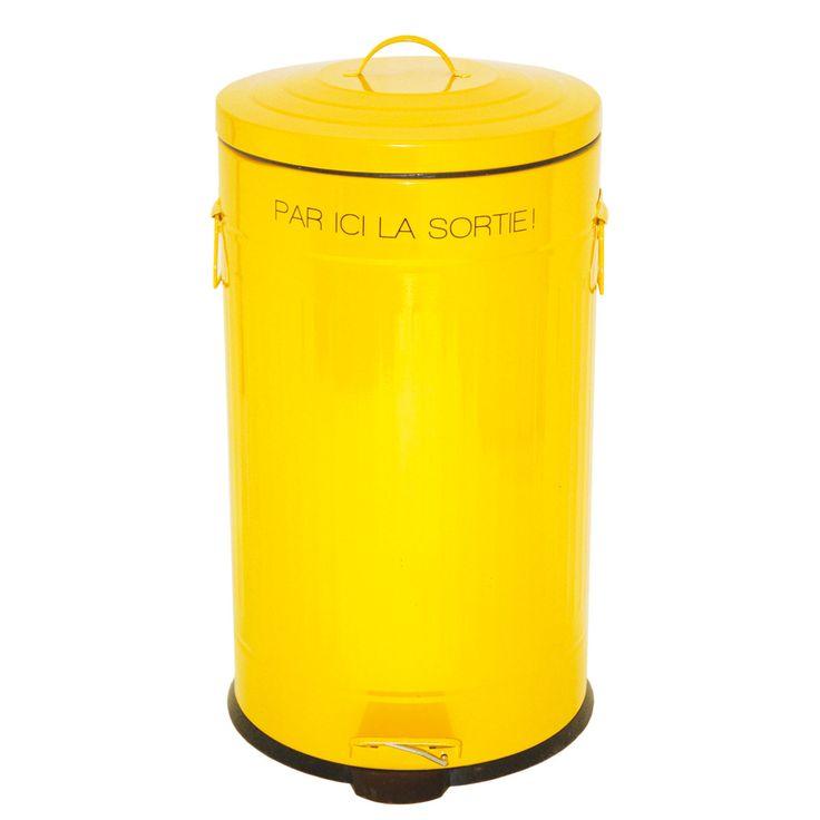 poubelle de cuisine jaune pdale rtro