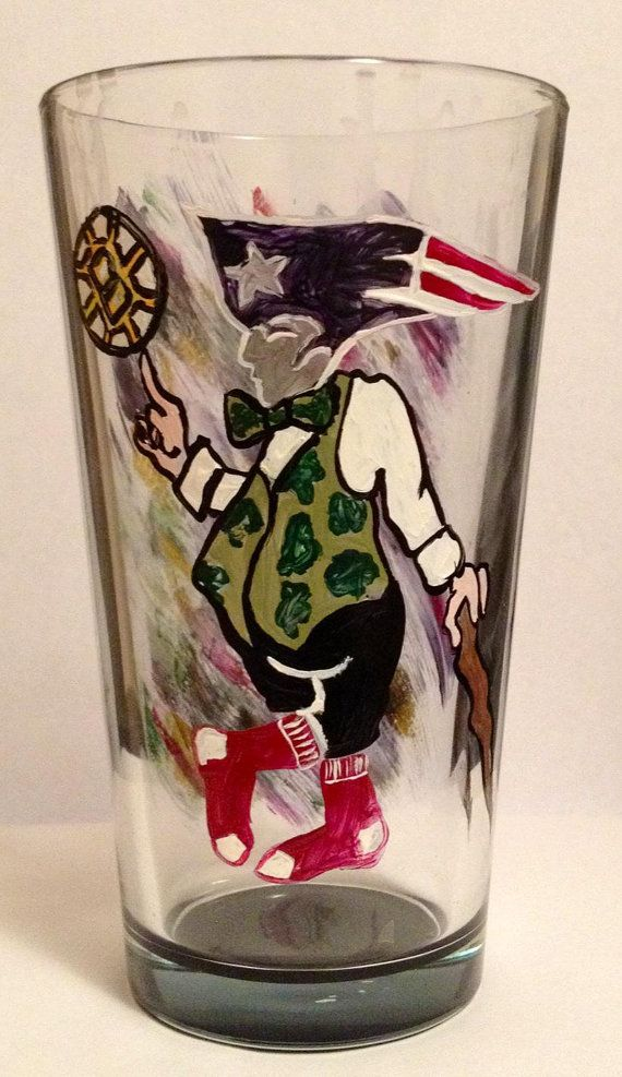 Boston Strong Hand Painted Glass by DrinkableArts on Etsy