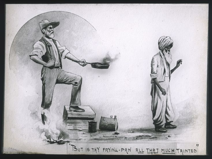 090017PD: Lantern slide of a drawing of a European man offering an Afghani a frying-pan, probably after it was used in a non-halal manner, ca. 1896.  http://encore.slwa.wa.gov.au/iii/encore/record/C__Rb4885098__S090017PD__Orightresult__U__X3?lang=eng&suite=def