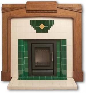 The wood mantle makes this art deco fireplace more tolerable than most, but I think of a fireplace as bringing the emotional as well as physical warmth to a living space. Boldly colored tile doesn't really communicate warmth to me.