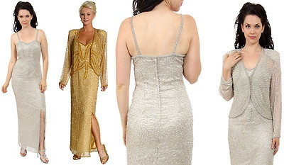 US $148.90   NWT 2PC Silk Chiffon Evening Gown & Jacket MOTHER OF BRIDE Gld Grey Silvr Blue