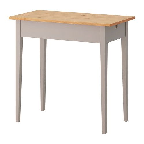 IKEA - NORRÅSEN, Laptop table, , Solid wood is a durable natural material.Cable outlet for easy cable management.Handy drawer on the side for storing your pens, papers or other accessories.Compartment with a fold-down front for easy access to your rechargers and cables.