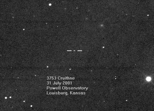 3753 Cruithne in 2001. Astronomer Duncan Waldron discovered this faint asteroid on October 10, 1986, on a photographic plate taken with the UK Schmidt Telescope at Siding Spring Observatory in Australia.