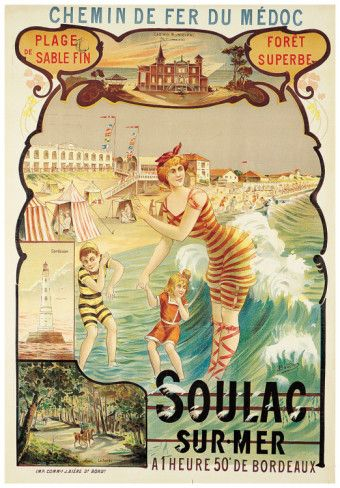 Vintage Travel Poster by Eugène Boudin - France - Soulac sur Mer