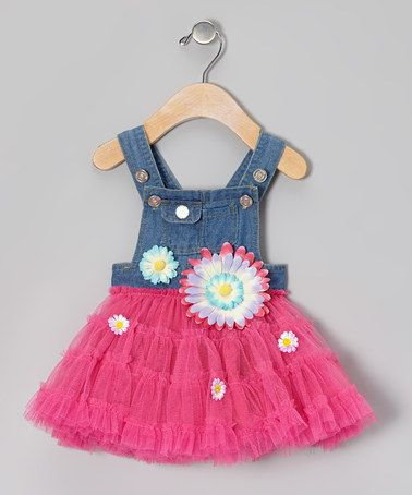 Take a look at this Fuchsia & Denim Overalls Tutu Dress - Infant & Toddler by Little Mass on #zulily today!
