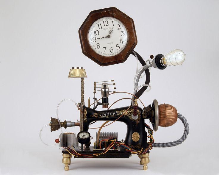 Love love love this steampunk found object clock assemblage vintage singer sewing machine - Steampunk mantle clock ...