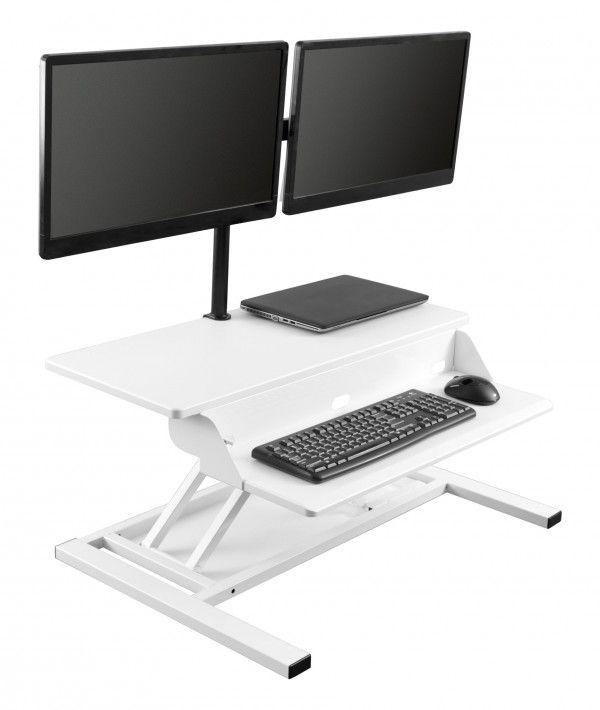 White Airrise Pro Adjustable Standing Desk Converter With Monitor Mount Standing Desk Converter Adjustable Standing Desk Adjustable Standing Desk Converter