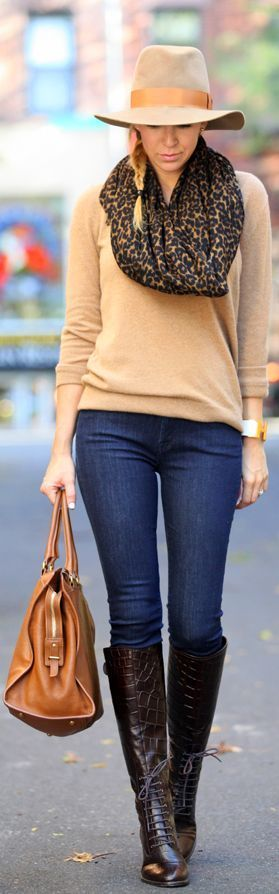Camel color sweater,leopard scarf,hat,blue jeans,handbag and long knee boots