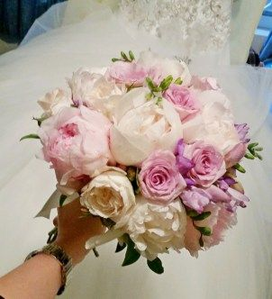 Lilac and cream bridal bouquet with peonies and roses #sunpetalsflorist