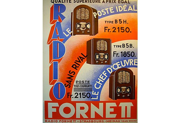 vintage French Radio Poster \\ 24x32 \\ A classic Art Deco image advertising a radio manufacturer named Fornett with three radio models to offer. The lithographic poster stresses the fact that Fornett offered these models at affordable prices and at an unequaled value. Printed in Strasbourg in the 1940s.