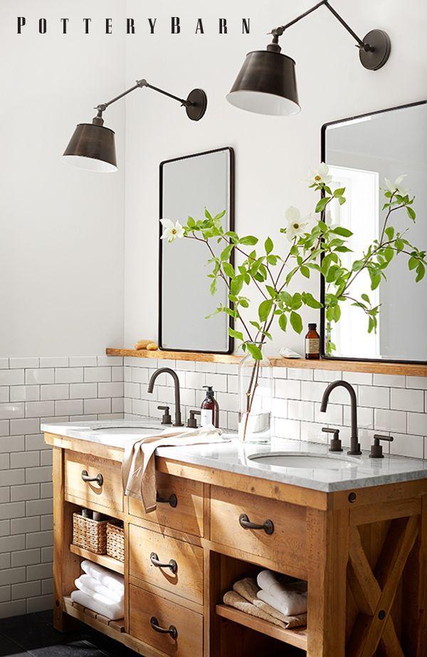 Pottery Barn Always Does It Right Gorgeous Black White And Wood Bathroom Farmhouse Bathroom Decor Modern Farmhouse Bathroom Bathroom Decor