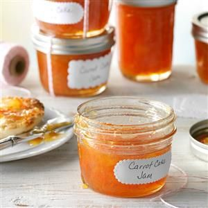 Carrot Cake Jam Recipe -For a change of pace from berry jams, try this unique option. Spread on a bagel with cream cheese, it tastes almost as good as real carrot cake!—Rachelle Stratton, Rock Springs, Wyoming