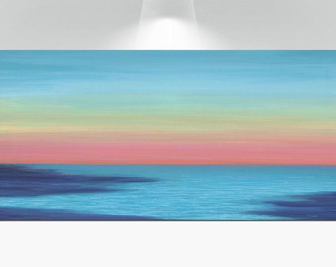 Turquoise Blue Navy Purple Abstract Ocean Art Beach Decor