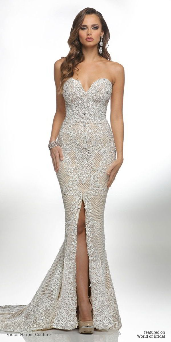 Sweetheart strapless neckline sheath skirt with front open slit embellished with Macrame lace.