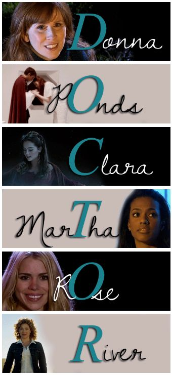 Donna: His Friend.  The Ponds: His Family  Clara: The Sister He Never Had.   Martha: His Companion.  Rose: His Lover River: His Wife
