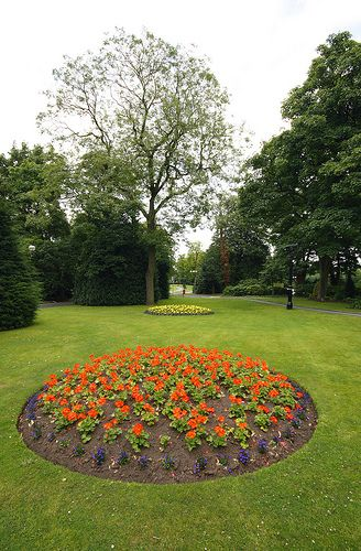 Flower borders in Runcorn Town Park