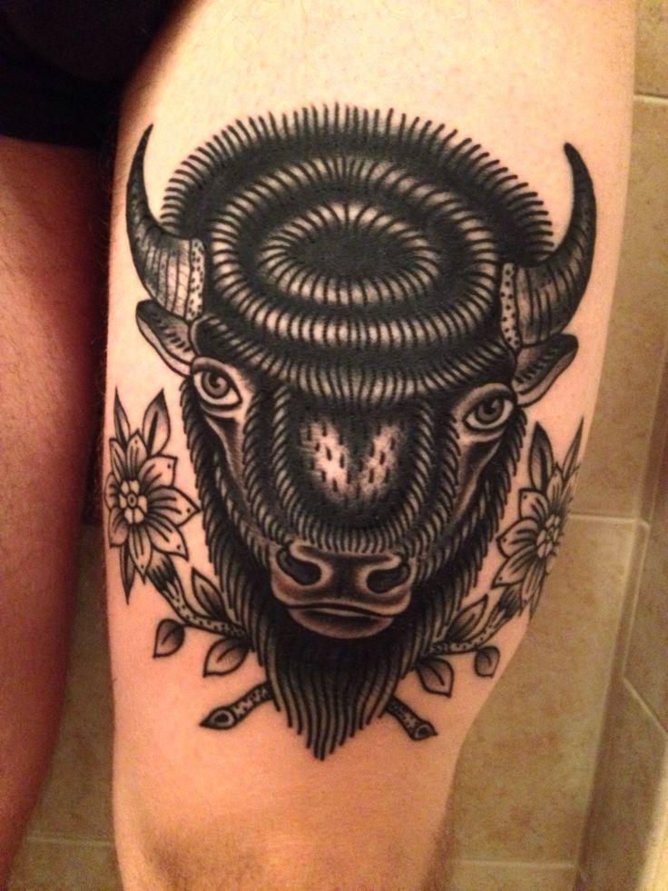 Buffalo head tattoo done by bailey robinson in brooklyn for Tattoos of buffaloes