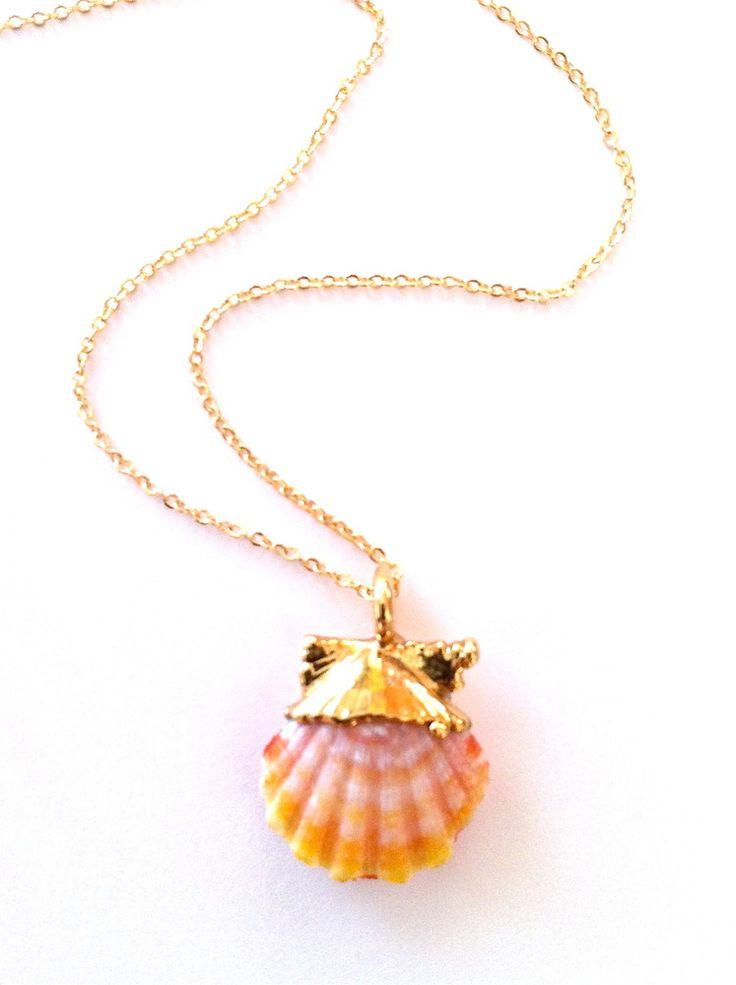 gold sunrise shell necklace