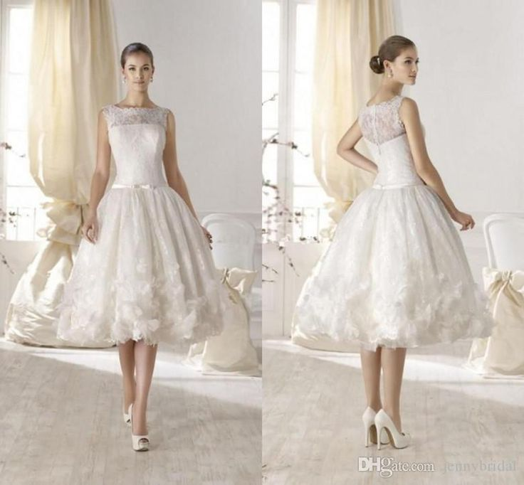 Wholesale new wedding dresses, panina wedding dresses and vintage dresses online on DHgate.com are fashion and cheap. The well-made exquisite 2015 short beach wedding dresses lace wedding gowns bateau applique flower sheer vintage tea length wedding dress custom size ssj sold by jennybridal is waiting for your attention.