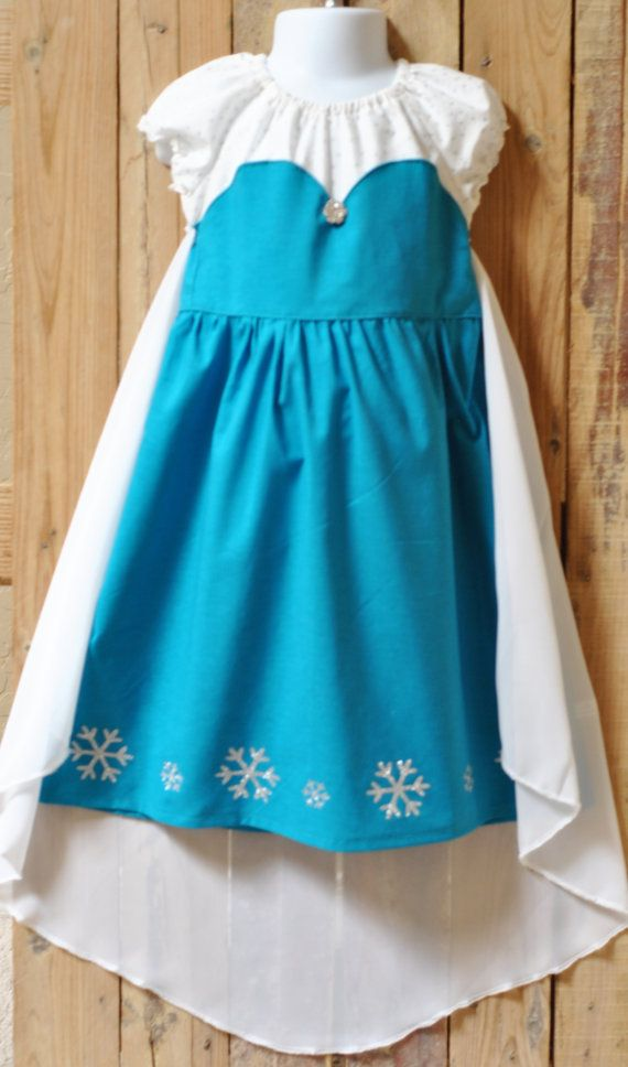 Frozen Inspired Elsa Peasant Dress with Cape Let by LilLaineyBug, $55.00
