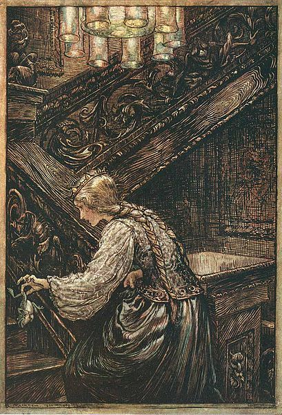 Arthur Rackham's illustration to the fairy tale of the Brothers Grimm The Frog Prince.