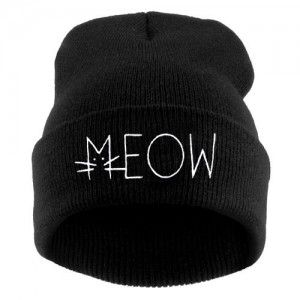 MEOW2 /czarna/ Czapka Beanie Krasnal haft