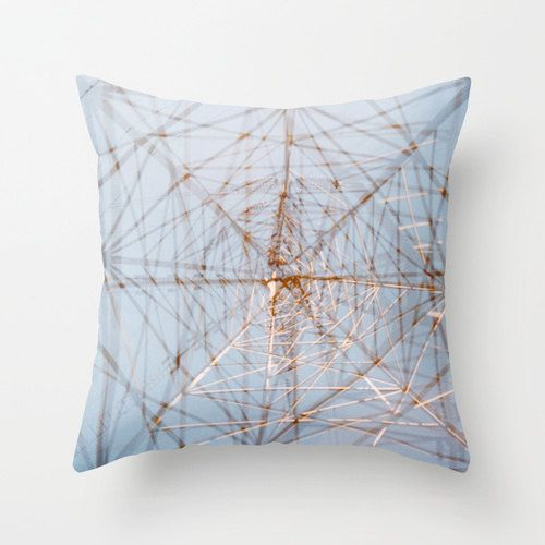 photo throw pillow cover. sky blue accent by FieldsOfAphelion (Home & Living, Home Décor, Decorative Pillows, photo pillow cover, decorative pillow, throw pillow cover, photo pillowcase, 18x18 22x22, photography pillow, industrial decor, geometric decor, sky blue pale blue, abstract photography, powerline art, silver blue decor, accent pillow gift)