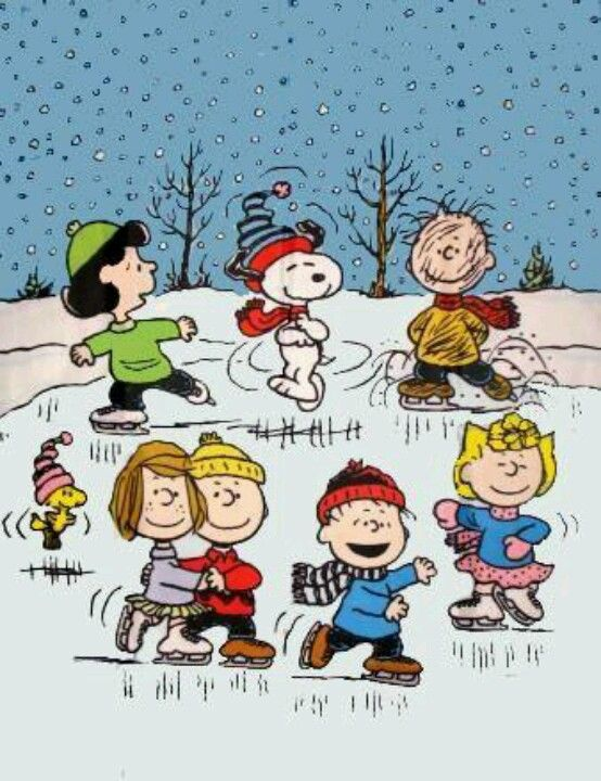 Charlie Brown, Snoopy,Peanuts Gang, Ice Skating, Refrigerator Magnet, NEW LARGER…