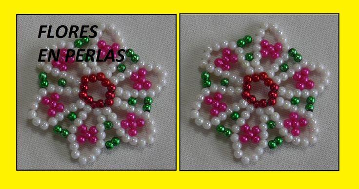 FLOR EN PERLAS DE COLORES como hacer una flor en perlas