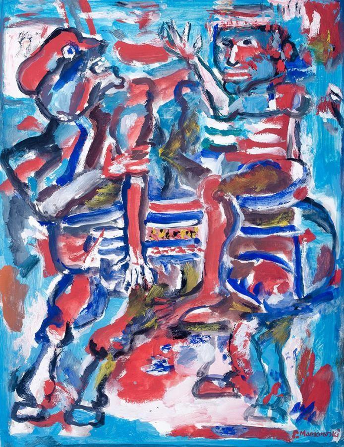 Eugeniusz Markowski: Postacie gwasz, tempera (?), papier, 51 × 39 cm w świetle passe-partout sygn. p.d.: E.Markowski