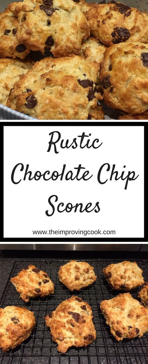 Rustic Chocolate Chip Scones- traditional scone dough with dark chocolate chips through it. Delicious scone recipe when served warm with clotted cream or butter. Makes a nice breakfast treat or after-school snack. Great for afternoon tea. #scones #chocolatechip #afternoontea #baking