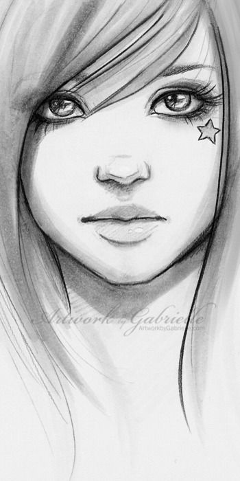 Girl with star on her face, drawing / Ragazza con stella sul suo viso, disegno - Artwork by Gabrielle (Art by gabbyd70 on deviantART)