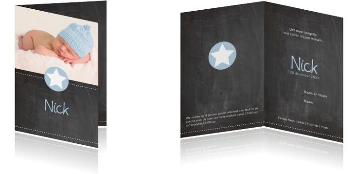 #Krijtbord #rouwkaartje voor een #jongetje #kindje. #Rondje en #sterretje in het #blauw.
