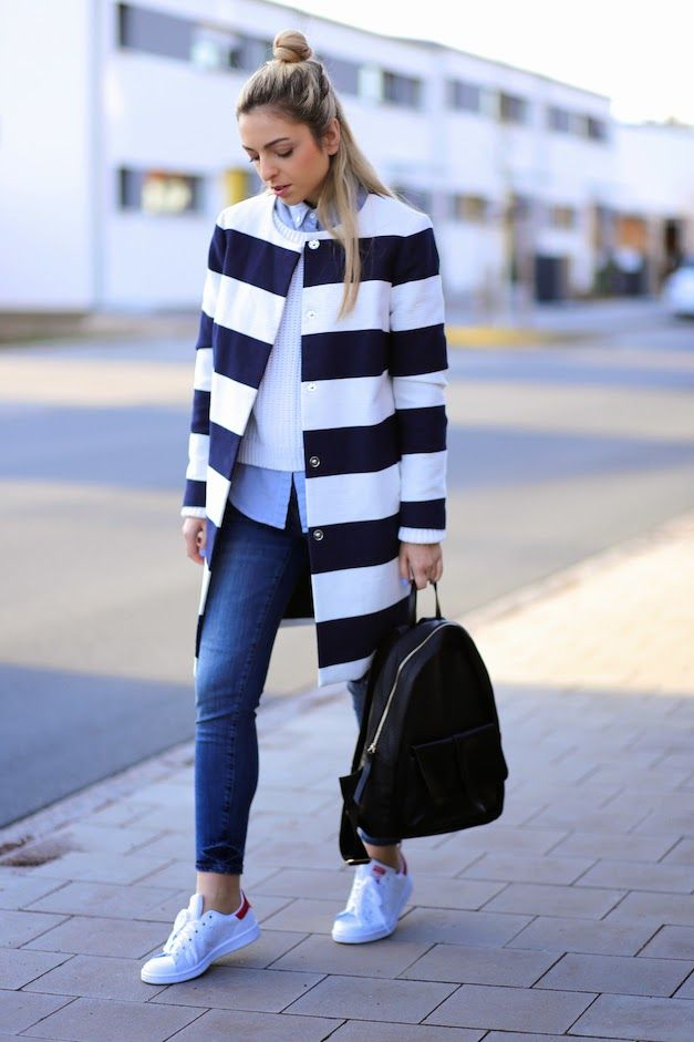 Striped coat and Stan Smith - Spring Outfit Inspiration by Jecky from WantGetRepeat.com
