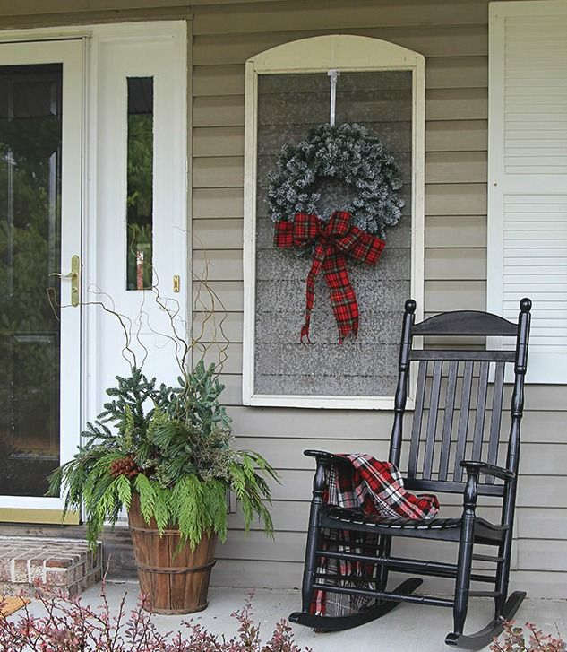 How To Decorate A Small Porch For Christmas Worthing Court Christmas Porch Decor Small Porch Decorating Front Porch Decorating