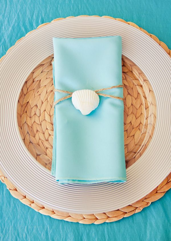 DIY Shell napkin decorations and other party entertaining ideas from the Hostess with the Mostess.