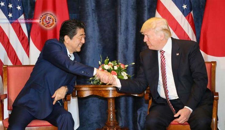 Abe e Trump concordam em aumentar a pressão contra a Coréia do Norte. O primeiro-ministro japonês, Shinzo Abe, e o presidente dos EUA, Donald Trump, concord